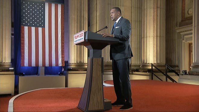 In this image from video, Georgia State Rep. Vernon Jones speaks from Washington, during the first night of the Republican National Convention Monday, Aug. 24, 2020.