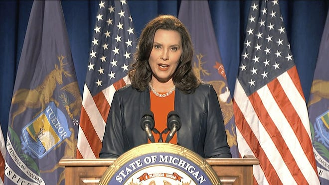 In this image from video, Michigan Gov. Gretchen Whitmer speaks during the first night of the Democratic National Convention on Monday, Aug. 17, 2020.
