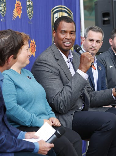 Tom Leander (left) moderates a panel with (from left) President of ONE Community Angela Hughey (left), former NBA player Jason Collins, former Tempe Mayor Neil Giuliano and Phoenix Mercury COO Vince Kozar during a Pride Night pre-game panel at Talking Stick Resort Arena in Phoenix April 3, 2018.