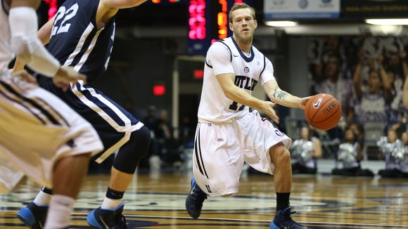 Butler's Jackson Aldridge looks to pass against Nova Southeastern during the exhibition game at Hinkle Fieldhouse Tuesday October 29, 2013.  Chris Bergin/ for The Star