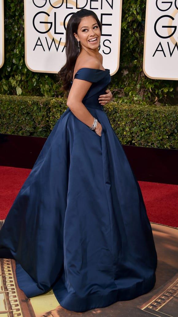 Gina Rodriguez arrives at the Globe Awards on Jan.