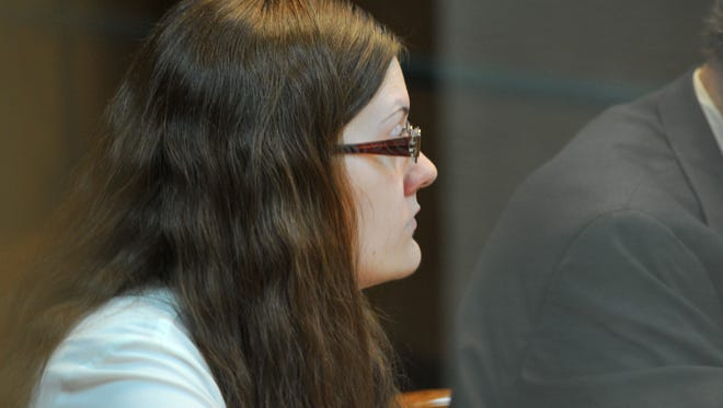 Sara Anne Woody sits in the 30th District Court during jury selection on Aug. 22. Woody is currently facing 26 counts of injury to a child.