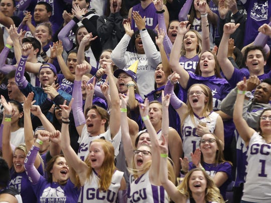 GCU fans react to an Oscar Frayer dunk against Texas