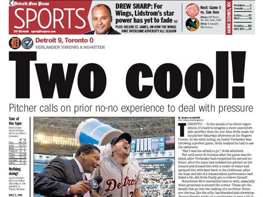 The front page of the Detroit Free Press sports section on Sunday, May 8, 2011.