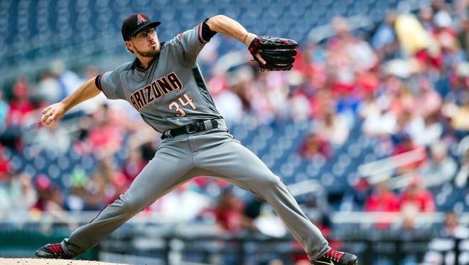 May 4, 2017: Arizona Diamondbacks starting pitcher Braden Shipley (34) throws a pitch to a Washington Nationals batter in the first inning during a game at Nationals Park.