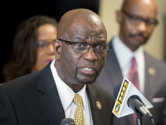 Alabama State University Interim President Leon Wilson discusses the Alabama Attorney General's order to end the five-year investigation into ASU leadership during a press conference at the ASU campus in Montgomery on May 3, 2017. Wilson and other leaders blasted other cuts in Trump's proposed budget released Tuesday, saying they could hurt students at historically black colleges and universities, or HBCUs.