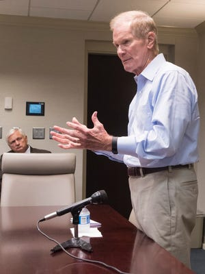Sen. Bill Nelson speaks to a group of local and civic leaders during a town hall meeting Monday, Aug. 7, 2017, at Pensacola State College. During the meeting, Nelson offered updates on a variety of topics, including health care, RESTORE Act funds and fee simple legislation.