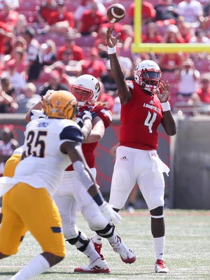 Louisville quarterback Jawon Pass made his debut in the second half against Kent State.September 23, 2017