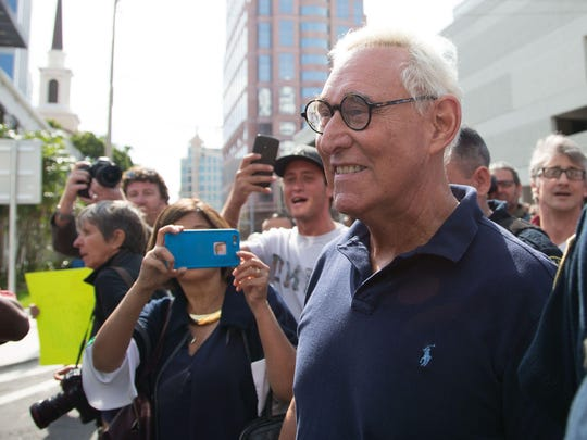 Roger Stone, a longtime adviser to US President Donald Trump, speaks to the media outside court January 25, 2019 in Fort Lauderdale, Florida. Stone was taken into custody by heavily armed police in a predawn raid at his home in Fort Lauderdale, Florida after an indictment was unsealed in Washington by Special Counsel Robert Mueller.