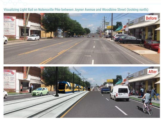 Before and after renderings show what the Nashville Light Rail could look like on Nolensville Pike between Joyner Avenue and Woodbine Street looking north.