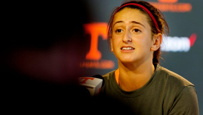 Tennessee volleyball player Brooke Schumacher speaks during a media press conference at the Ray and Lucy Hand Digital Center in Knoxville, Tennessee on Tuesday, August 22, 2017.