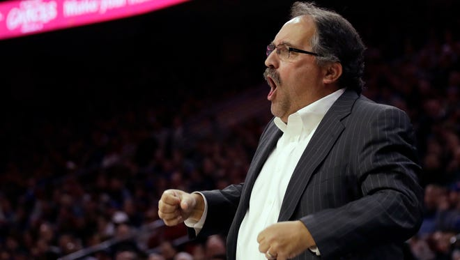 Detroit Pistons coach Stan Van Gundy reacts to a call during the first half of the team's NBA basketball game against the Philadelphia 76ers, Friday, Jan. 5, 2018, in Philadelphia.