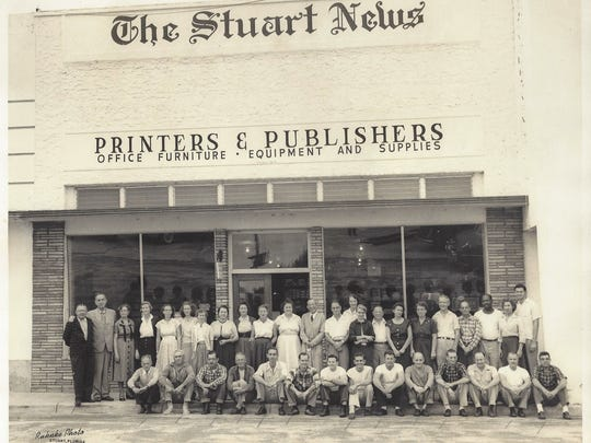The Stuart News Building on First Street in downtown Stuart during the mid-1950s and the news staff at the time. In 1957, the newspaper was sold to Gordon Lockwood, who built a new plant on East Ocean Boulevard.