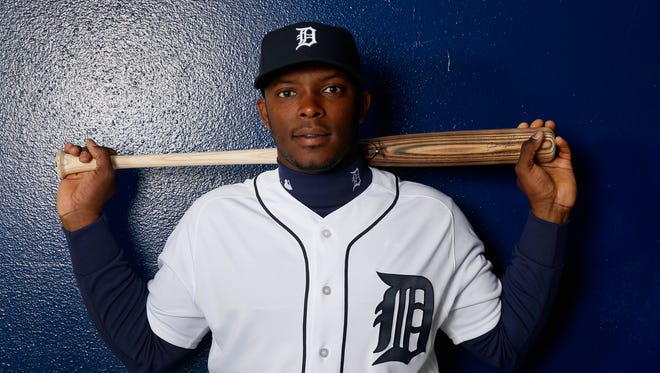 Justin Upton of the Detroit Tigers poses during photo day at Joker Marchant Stadium on Feb. 27, 2016, in Lakeland, Fla.