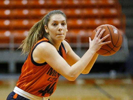 UTEP Miner Katarina Zec (44) goes through practice with the rest of her teammates at the Don Haskins Center Tuesday afternoon. The Miners are preparing for their upcoming game against UAB Friday night in the Don Haskins Center.