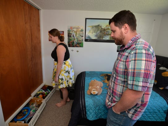 Adam and Mercedes Kemp show off the room that will