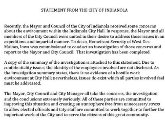 A statement from the City of Indianola concerning the work environment inside City Hall.