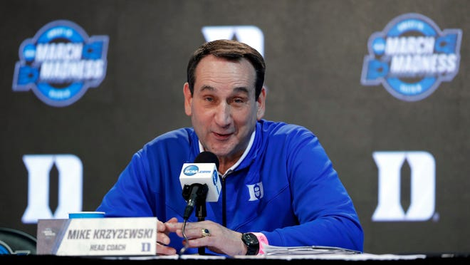 This March 22, 2018, file photo shows Duke head coach Mike Krzyzewski speaking during a news conference at the NCAA men's college basketball tournament in Omaha, Neb.
