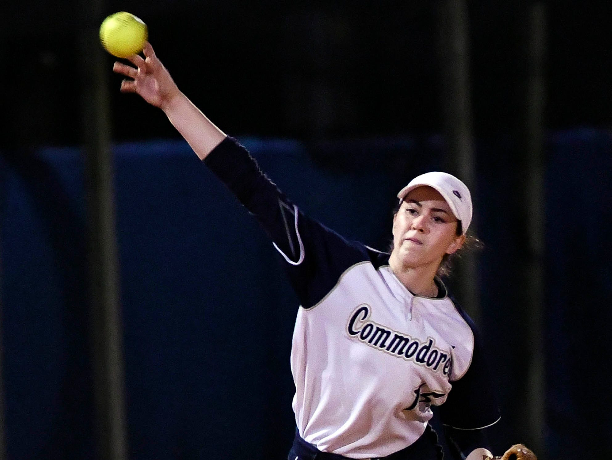 Eau Gallie's Angela Cataldo throws out a Rockledge baserunner during their game Thursday.