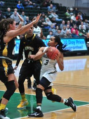 Binghamton's Kai Moon drives the lane against UMBC