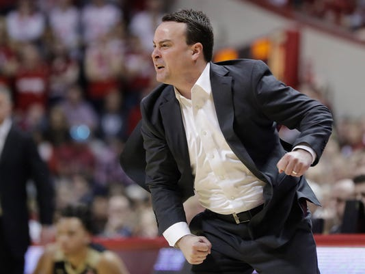 Indiana head coach Archie Miller yells at his team during the first half of an NCAA college basketball game against Purdue, Sunday, Jan. 28, 2018, in Bloomington, Ind. (AP Photo/Darron Cummings)