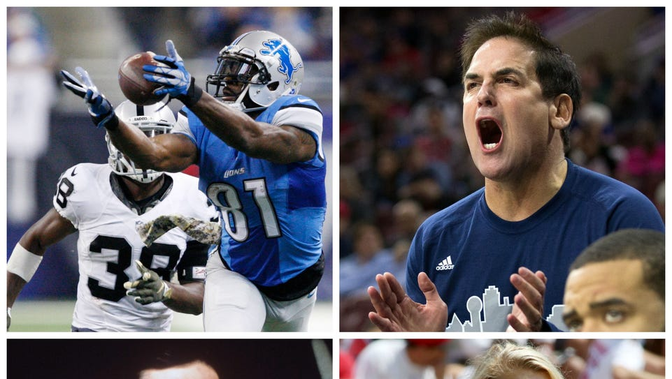 Photos clockwise from top left: The Lions' Calvin Johnson,