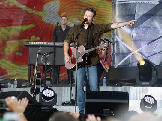 Blake Shelton performs on stage during a free beach concert in Atlantic City in July 2014.