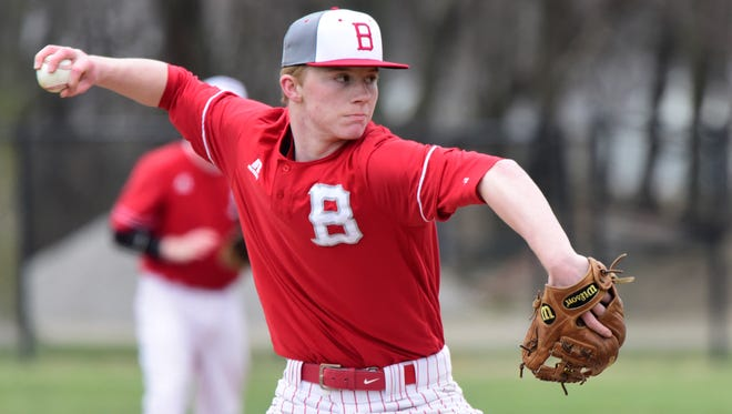 Bellevue's Justin Drennen throws a pitch Monday. Drennen played second base but couldn't pitch last season because of a broken hand.