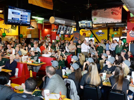 Fuzzy's Taco Shop is packed for the women's NCAA selection show watch party on Monday, March 14, 2016.