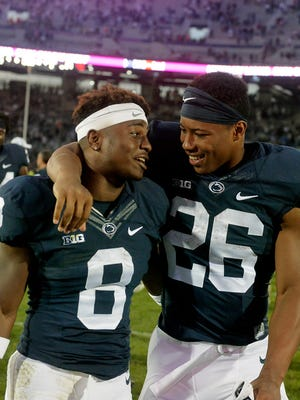 Mark Allen (8) learned from Saquon Barkley (26) and has one more season to make his own name. Will Saturday's Blue-White Game be a springboard in 2018?