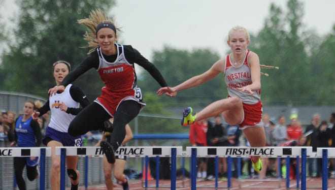 Piketon's Cami Chandler competes in the 300-meter hurdles during last year's Scioto Valley Conference track and field meet.