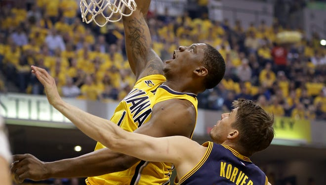 Indiana Pacers center Kevin Seraphin (1) dunks against Cleveland in 2017. He was more productive after Lance Stephenson joined the team.