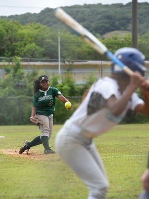 John F. Kennedy's Georgina Hocog pitches against a Southern High School player during their Independent Interscholastic Athletic Association of Guam Girls Softball game at Southern High School on Feb. 18, 2017. The JFK Islanders came away with the win 15-3.