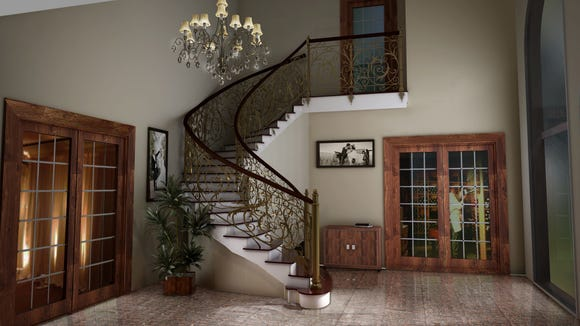 The foyer of the new  Tomasello banquet facilities features a grand staircase.