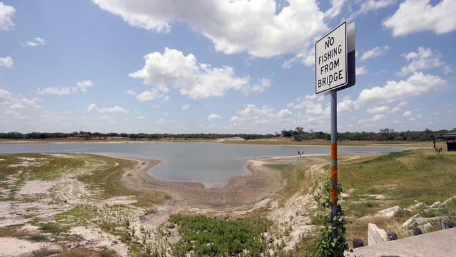 The combined capacity of Lake Corpus Christi, pictured here, and Choke Canyon, pictured here, water reservoirs were below 50 percent in June 2018.