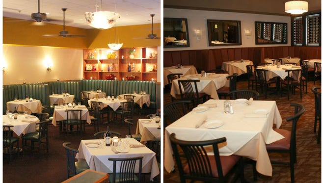 A view of the dining room before (left) and after (right) the renovations.