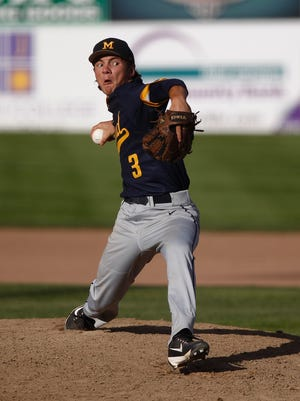 Midland's Lane Flamm pitches against D-BAT 17 during Game 8 of the Connie Mack World Series on Wednesday at Ricketts Park.