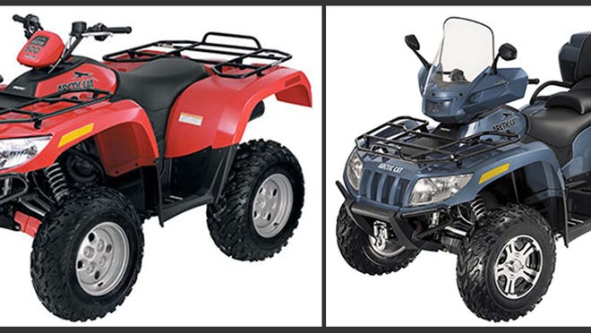 An Arctic Cat 2008 Single-rider All-Terrain Vehicle, left, and the 2009 2UP ATV, right, are being recalled because components in the front gear case can fail, posing a risk of loss of control, which can become a crash hazard.