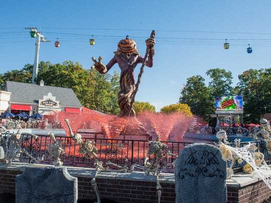 Day and night, the Pumpkin King reigns over the bloody fountain at Fright Fest.