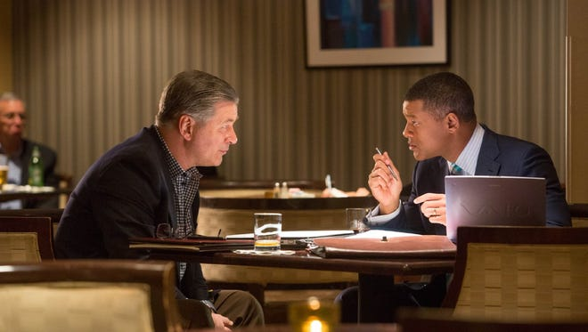 """Alec Baldwin, left, and Will Smith star in the movie """"Concussion,"""" now playing in El Paso-area theaters."""