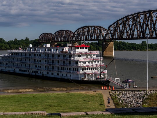 The Queen of the Mississippi riverboat sits docked along the riverfront in Henderson, Ind., on Wednesday, June 21, 2017. Passengers got off the ship, which is traveling from St. Louis to Pittsburgh, to explore downtown Henderson by foot or tour bus until about 12:30 p.m. when they embarked for their next stop in Louisville.