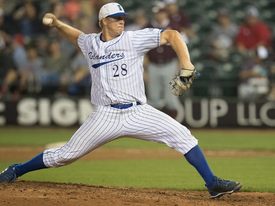 Texas A&M Corpus Christi's David Worrell pitches during the seventh inning of their game against Texas A&M- University' at Whataburger field on Tuesday, March 27, 2018