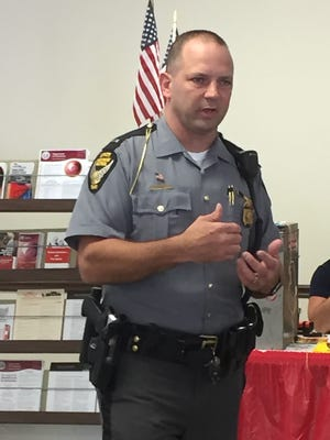 Lt. Matt Boyd, of the Ohio State Highway Patrol Zaneville Post, provided fair-goers with statistics regarding impaired driving during the Drive Sober or Get Pulled Over campaign.