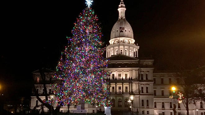 The Michigan State Capitol in Lansing with the Christmas tree on Nov. 20, 2017.