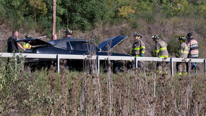 New York State Police and Town & Country Fire Department responded to a motor vehicle crash in the eastbound lanes of Interstate 86 in Horseheads. A box truck appeared to have hit the rear left side of a black car.