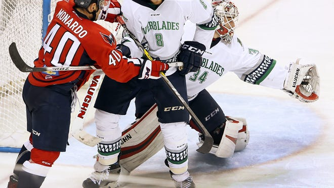 Everblades goalie Alex Nedelijkovic makes a stop against the Stingrays as South Carolina took on Florida in Game 3 of their South Division Kelly Cup final series Monday, May 1, 2017 at the North Charleston Coliseum. The best-of-seven series is tied at 1.