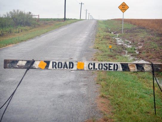 Eastbound Brosch Road near Haynesville had flood waters