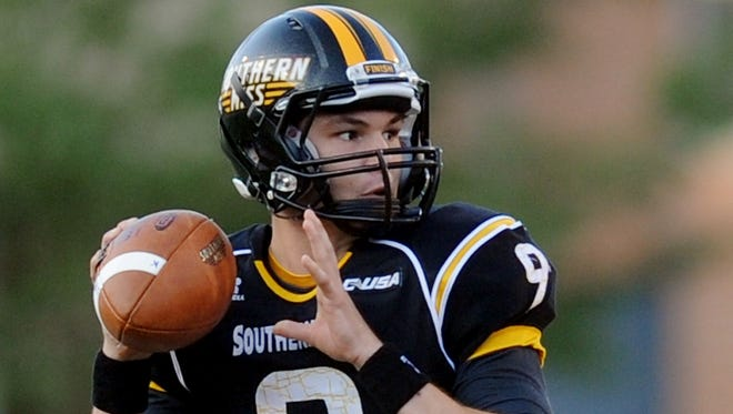 Southern Miss' Nick Mullens (9) looks to pass during their game against Appalachian State Saturday at USM.