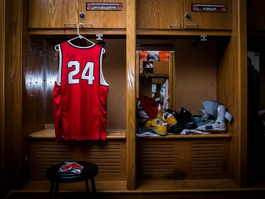 The jersey and locker of Zach Hollywood at Worthen