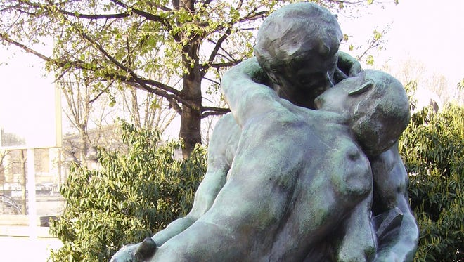 Bronze version of The Kiss (Le Baiser)  by the French sculptor Auguste Rodin.